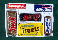 Mars selection box from Christmas 1971 containing a Mars Bar, Twix, Treets, Milky Way, Marathon, ...