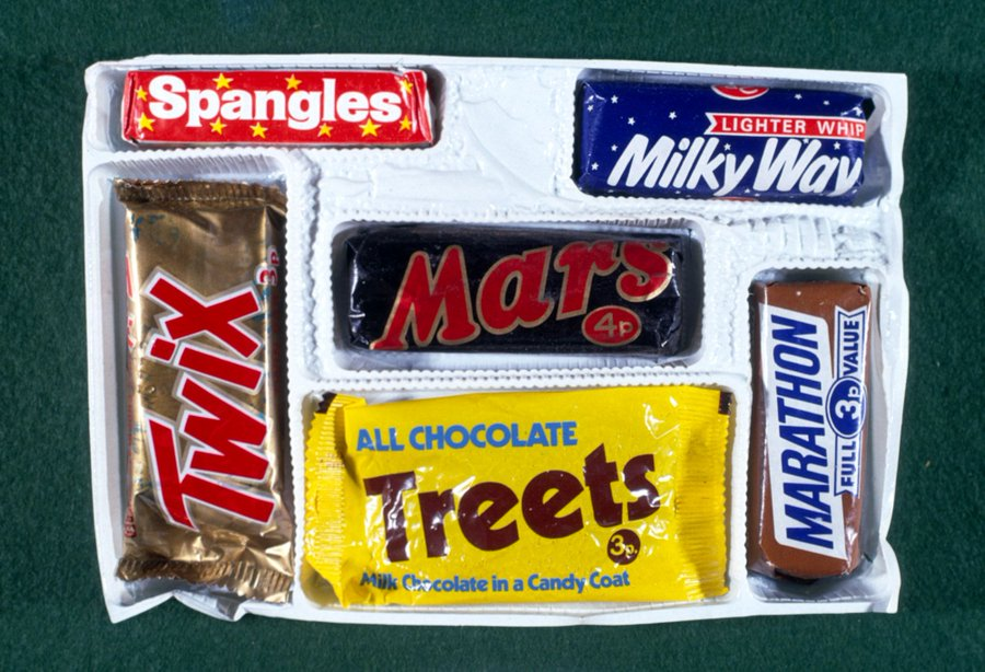Mars selection box from Christmas 1971 containing a Mars Bar, Twix, Treets, Milky Way, Marathon, ...