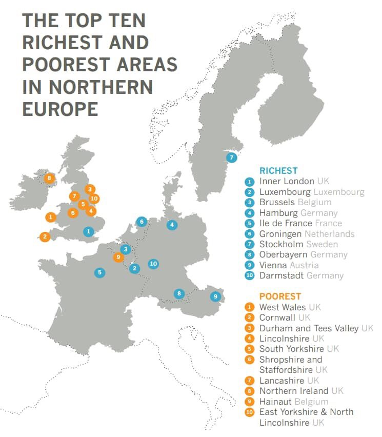 Top ten richest and poorest areas in Northern Europe