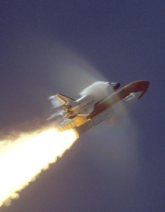 Space shuttle breaking the sound barrier