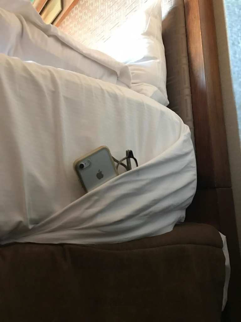 Great hack if your hotel has no bedside cabinet