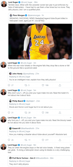 Alan Sugar is handling Kobe Bryant's tragic death with his usual quiet dignity and good grace