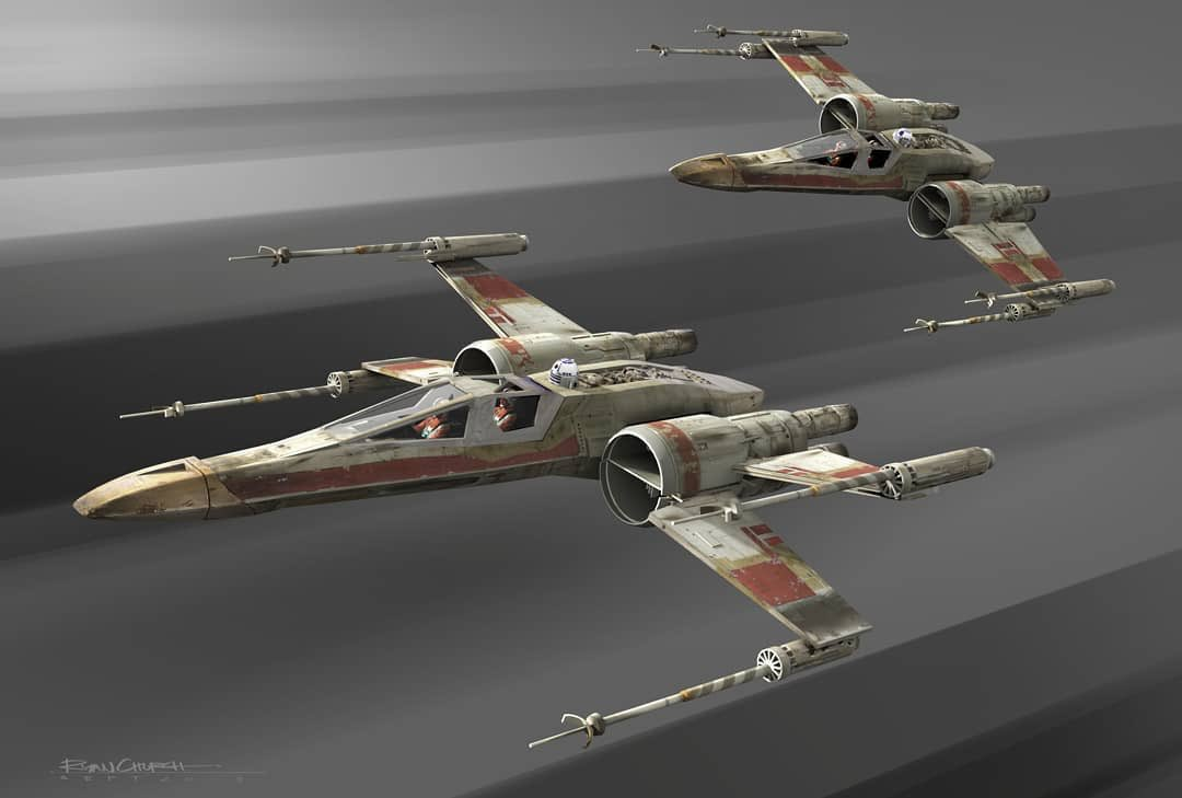 Ralph McQuarrie original XWing design, note the S foils rotate around the engines