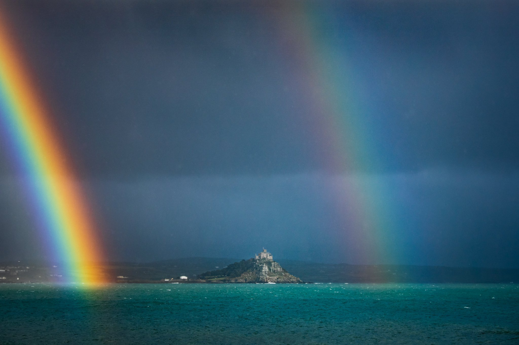 Double rainbow over St. Michaels Mount, certainly a pot of gold up Lord Mountbattens ass