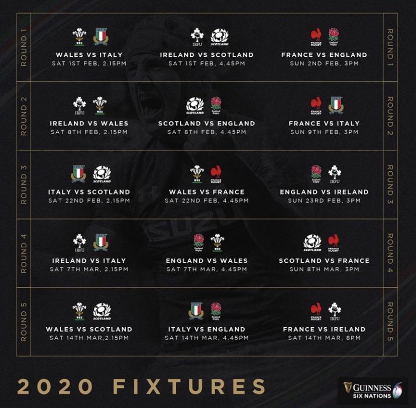 Six Nations 2020 fixtures