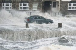 Nearly getting washed away in Porthleven