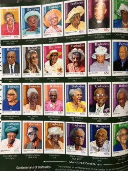 When you reach 100 years old in Barbados, you get a stamp in your honour, beats a xeroxed note f ...