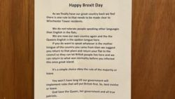 'Happy Brexit Day' signs at Norwich flats say 'only speak English'
