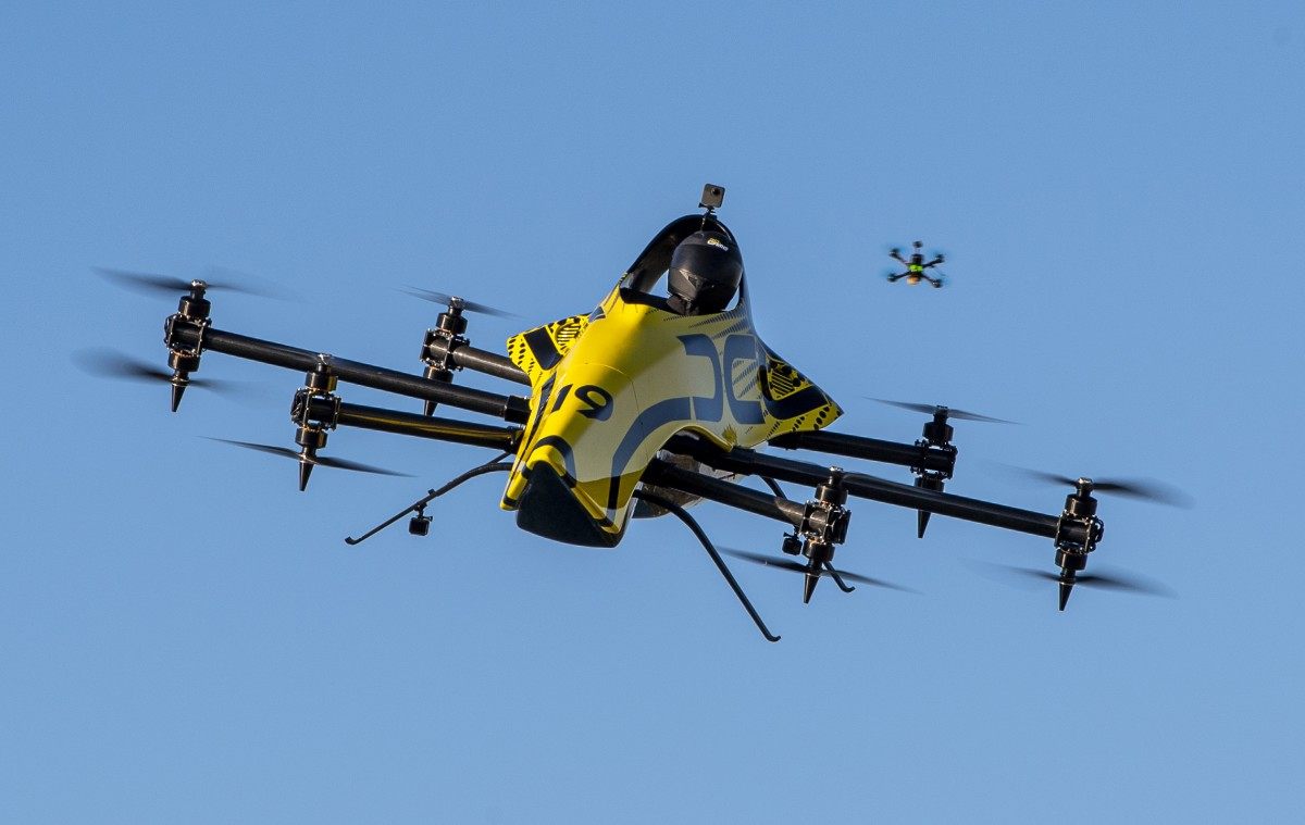 World's first manned aerobatic drone shown pulling loops and rolls