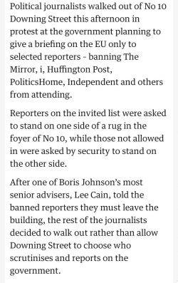 British political reporters right to stick together to stop No 10 choosing who scrutinises the P ...