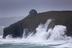 Storm Dennis rips into Cornwall at Rinsey Head