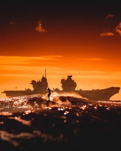 Royal Navy aircraft carrier HMS Queen Elizabeth visiting Florida
