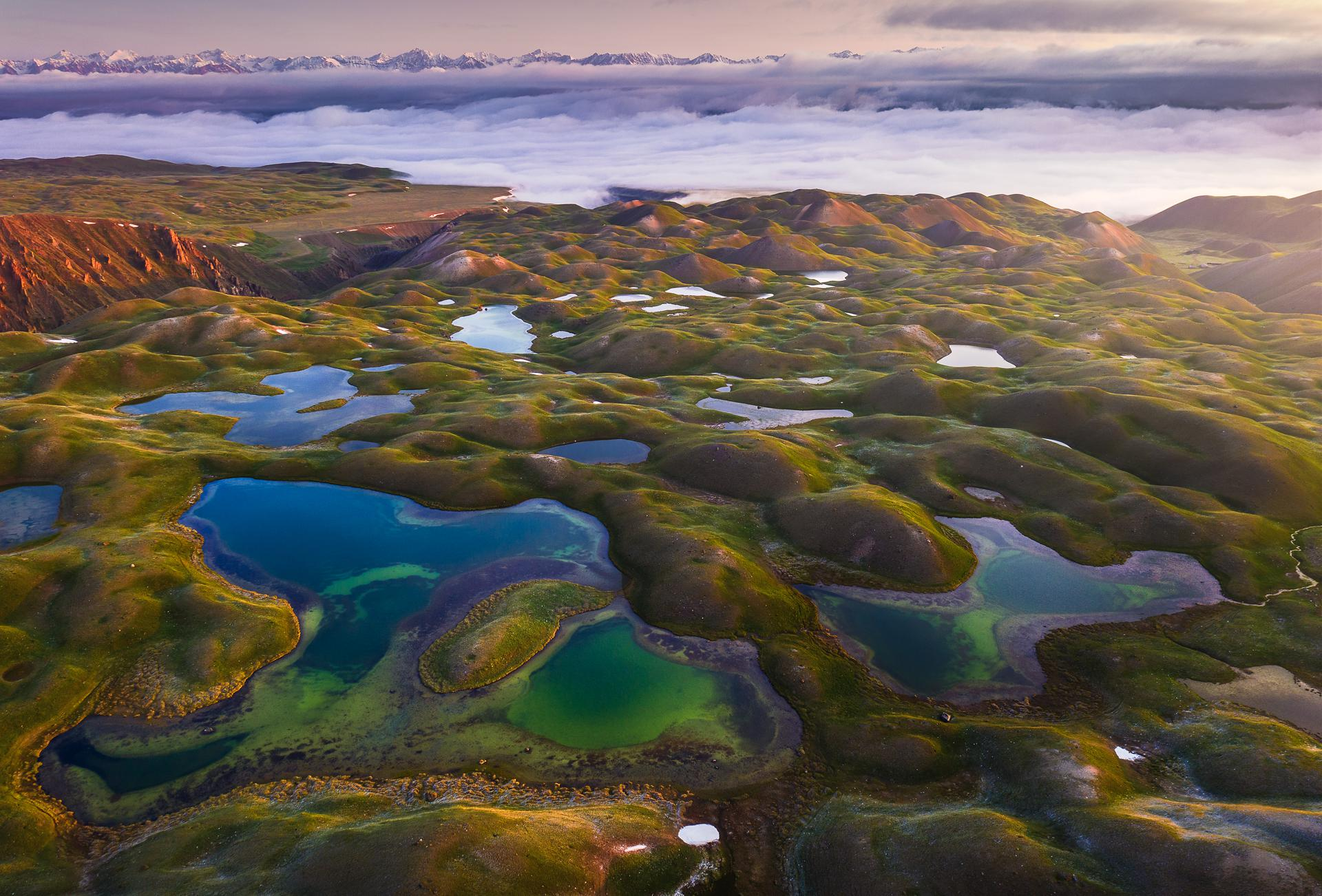 The surreal landscape of Kyrgyzstan seen from the sky