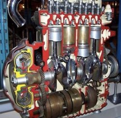 Cut in half engine