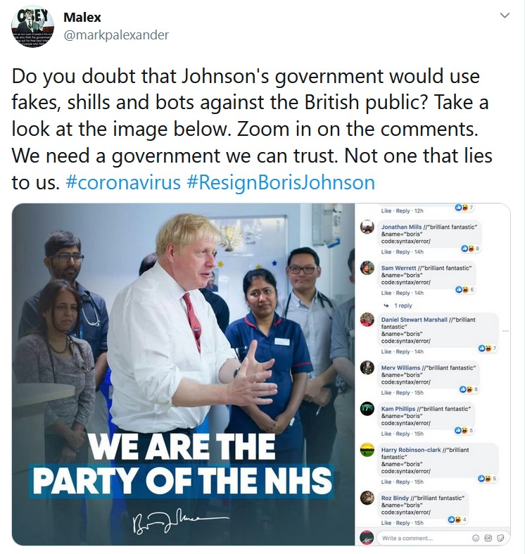 Do you doubt that Johnson's government would use fakes, shills and bots against the Britis ...