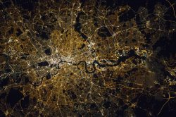 Nighttime view of London from the ISS