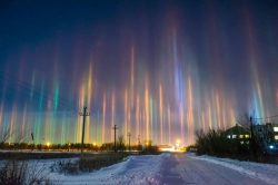 Extremely Rare Light Pillars; phenomenon caused when light is refracted by ice crystals.