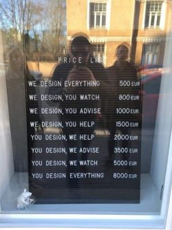 Designers price list