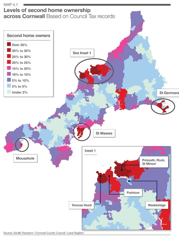 Official 2nd home density in Cornwall, this is only the voluntarily submitted figures so guarant ...