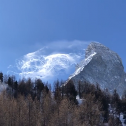 Snow being blown off the Matterhorn