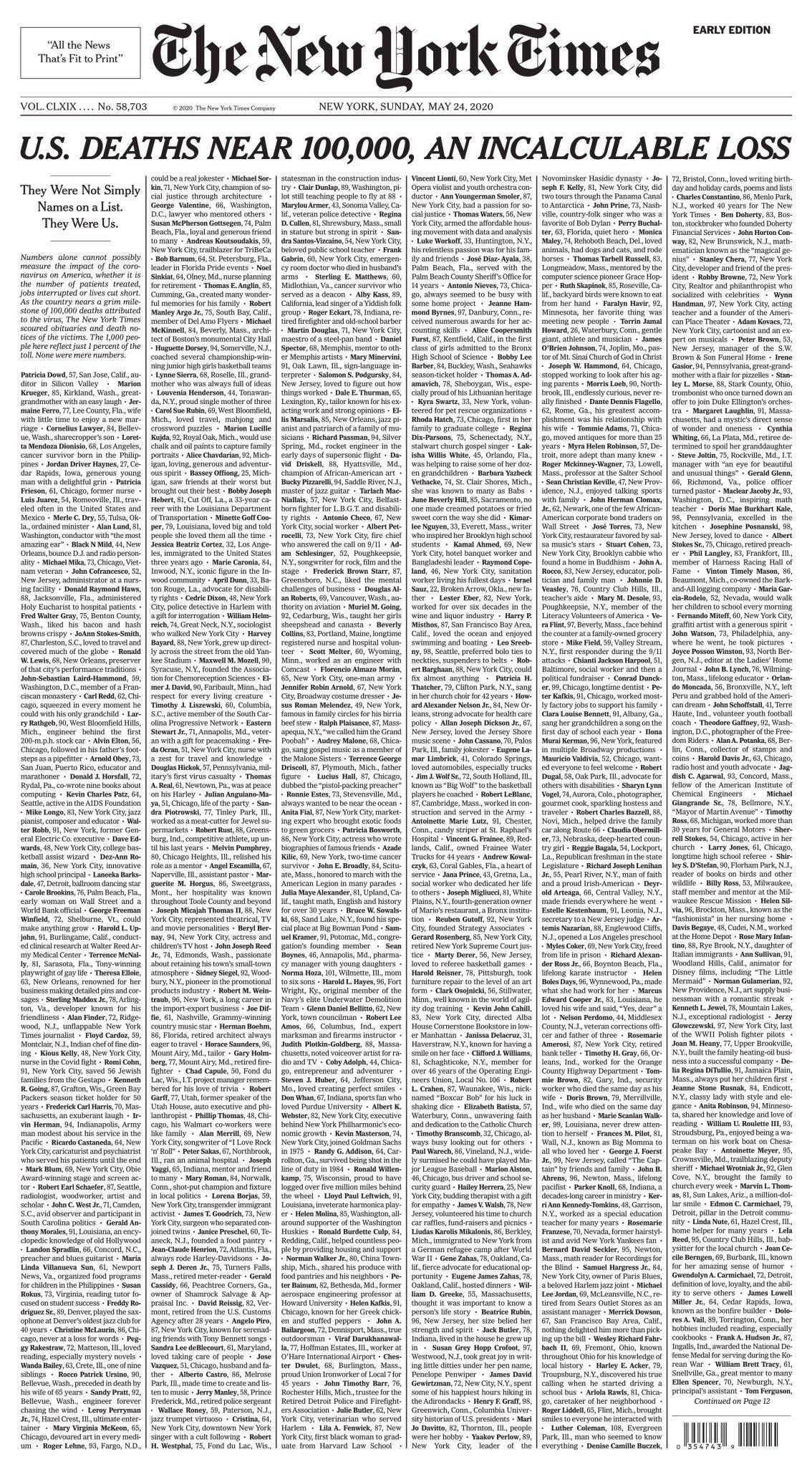 NEW YORK TIMES 2020-05-24 front page is just names of dead people