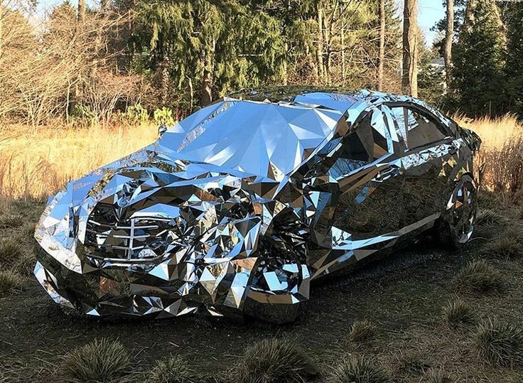 Car wreck covered in mirrors
