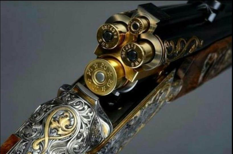 This Vierling rifle with 4 barrels. One 22. Hornet bullet, two 8×57 big game bullets and on ...