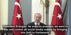 President Recep Tayyip Erdogan has called on the Turkish parliament to pass laws that ban social ...