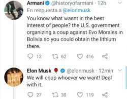 Elon Musk Expresses Support for Bolivian Coup