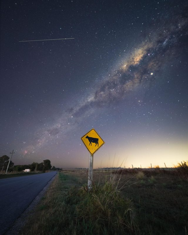 ISS cruising through the night sky