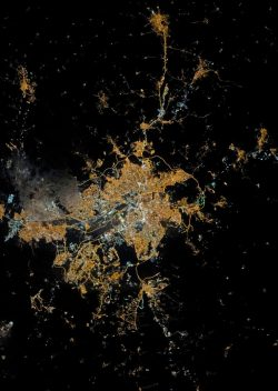 Ankara, the heart of Turkey, aglow in the dark of night and space