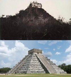 Chichen Itza when it was discovered in 1892 vs. Present-day