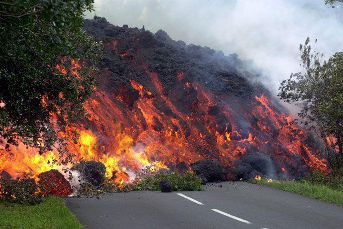 A wall of lava