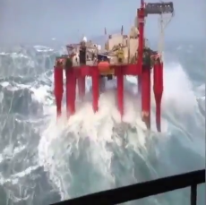 Offshore rig in heavy seas