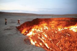 Scientists in Turkmenistan thought they had found oil, so they dug a hole, but it was natural ga ...