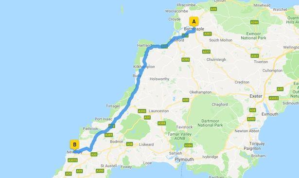 The Atlantic highway, most beautiful road in Cornwall/Devon