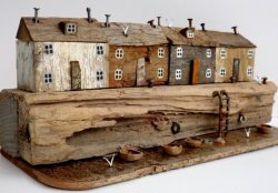 Kirsty Elson, UK multi media artist based in Cornwall who creates sculptures out of driftwood co ...
