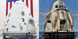 Crew Dragon capsule before and after flight to Space Station
