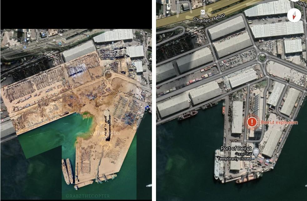 Port of Beirut before and after