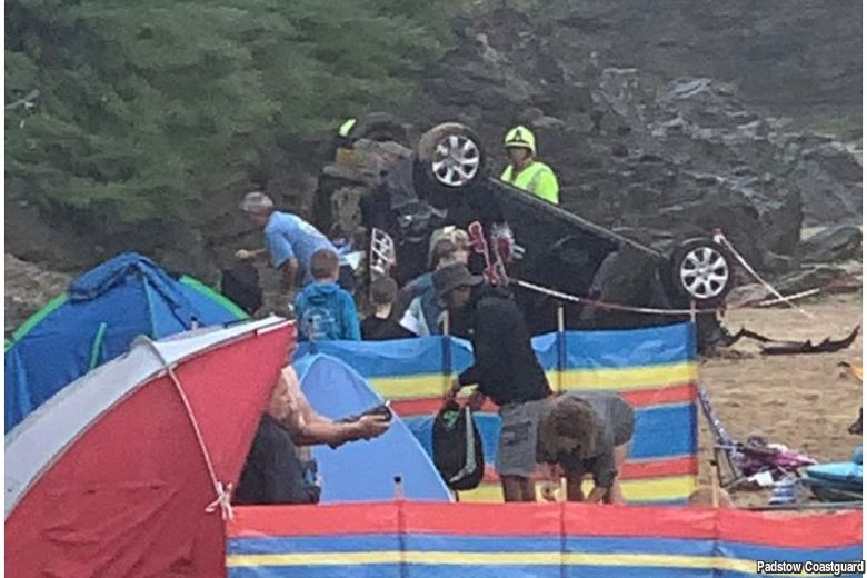 Car plunges 20ft from Cornish cliff and onto beach below