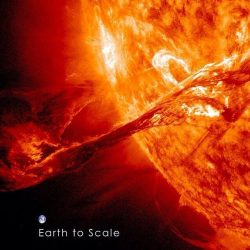This is the size of a solar flare, with Earth to scale