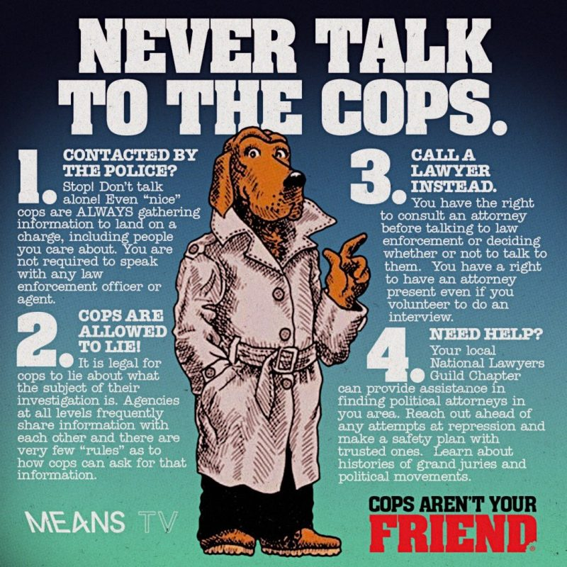 Never talk to the police