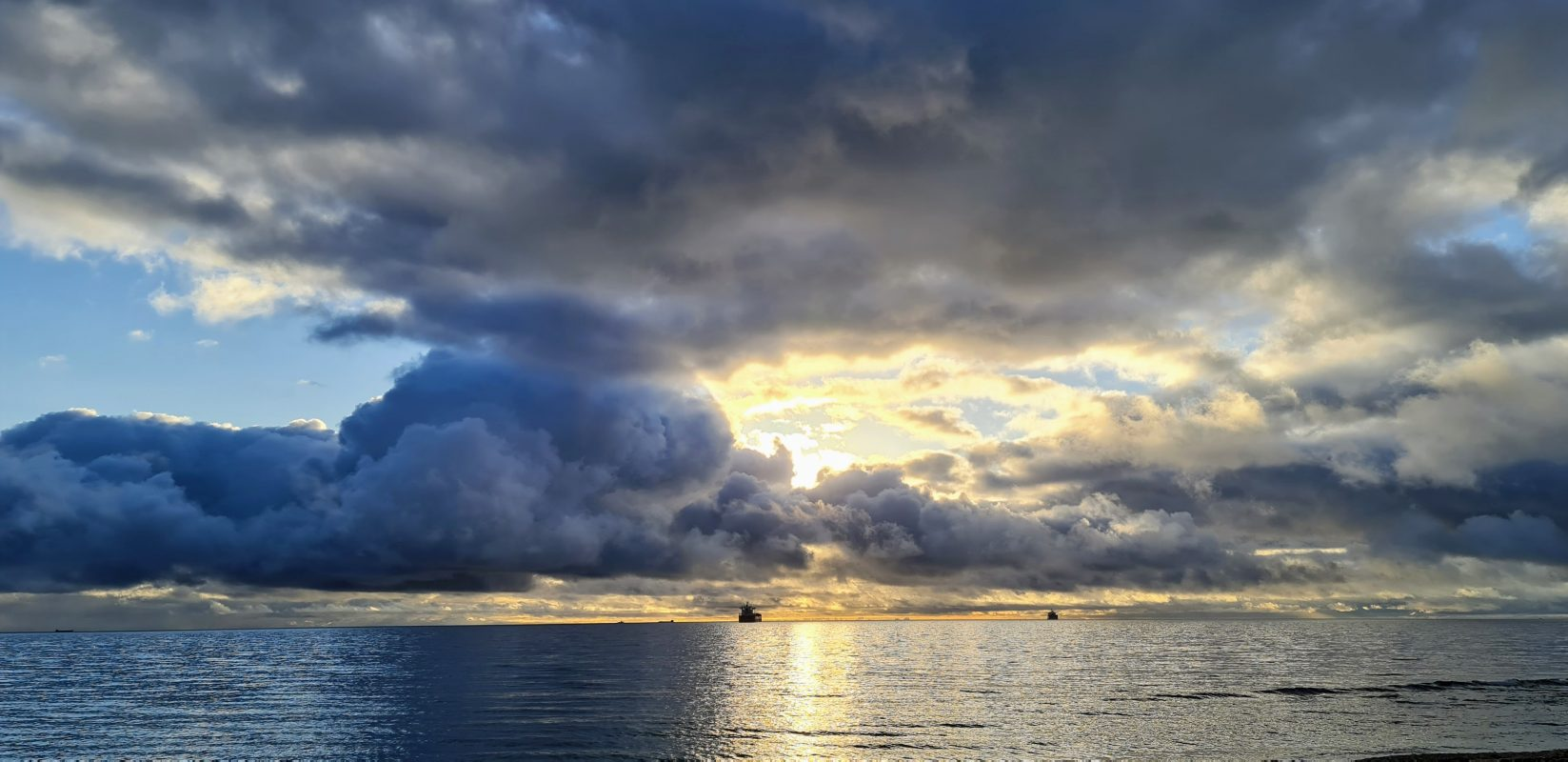 Dramatic sky at Gylly Beach this morning, by me