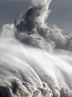 Lighthouse on Mouro Island in Santander, Spain