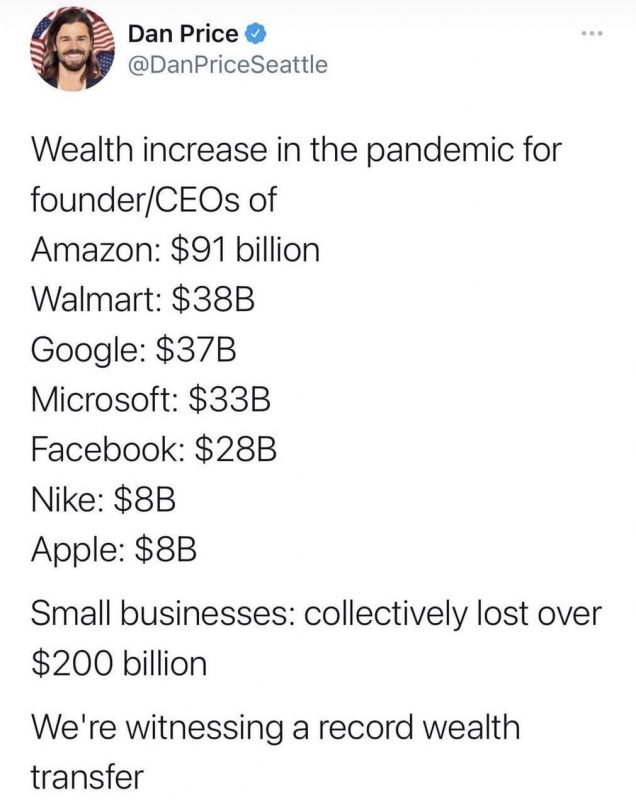 Survival of the richest, ready to swoop in and buy up cheap all the companies lower on the food  ...
