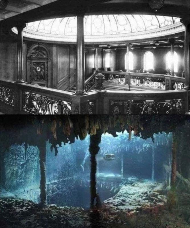 Titanic's grand staircase then and now