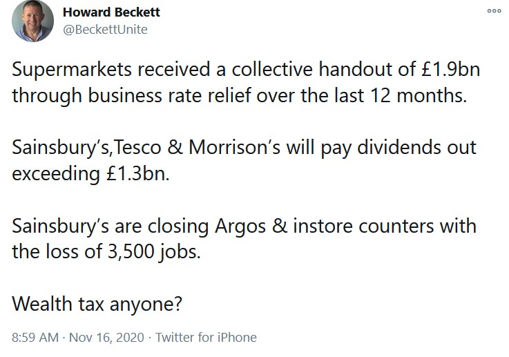 Supermarkets received a collective handout of £1.9bn through business rate relief over the last  ...