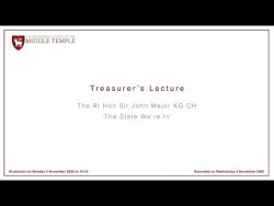 Treasurer's Lecture – The Rt Hon Sir John Major KG CH – The State We're In – YouTube