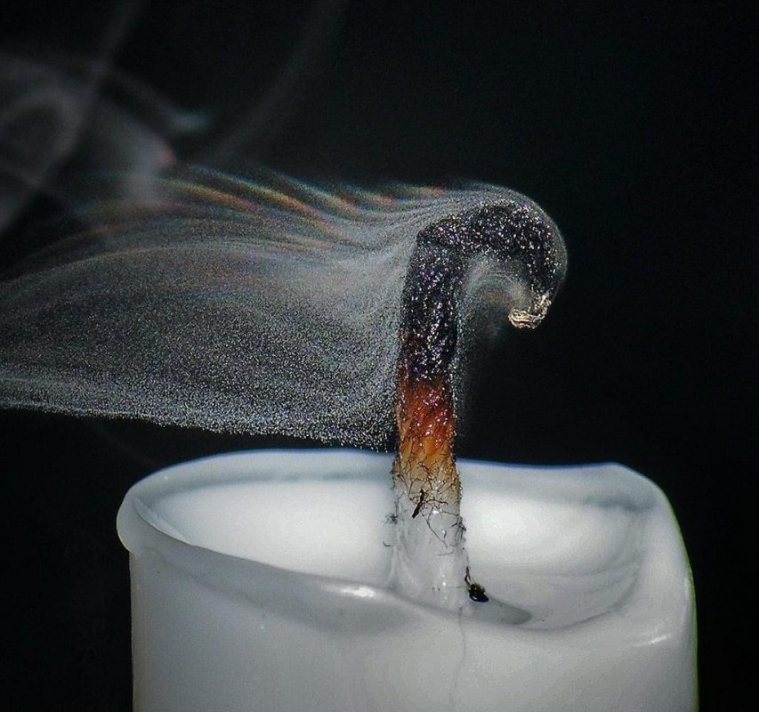 A photo demonstrating how smoke is made of particles suspended in air
