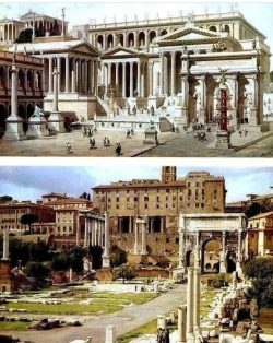 Roman Forum, then and now